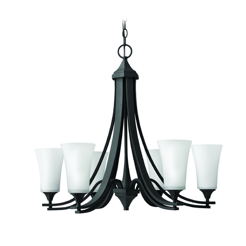 Hinkley Lighting Chandelier with White Glass in Textured Black Finish 4636TB