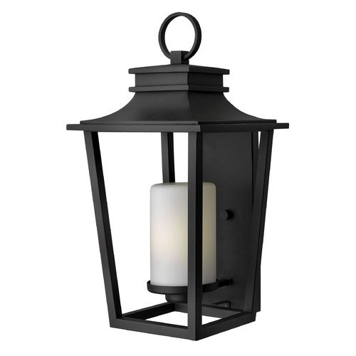 Hinkley Lighting Outdoor Wall Light with White Glass in Black Finish 1745BK-GU24