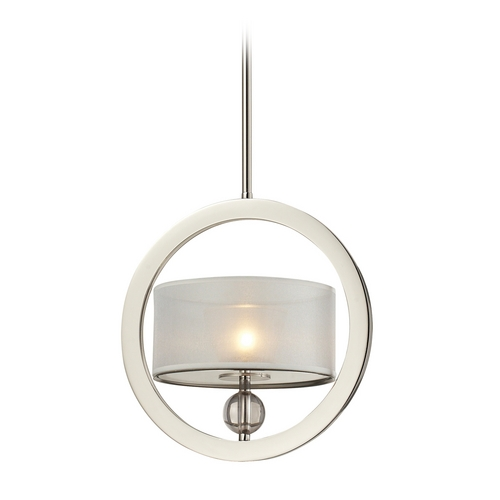 Elk Lighting Modern Drum Pendant Light with Silver Shade in Polished Nickel Finish 31291/1