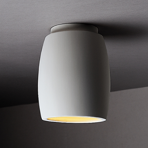 Justice Design Group Close To Ceiling Light with White Shade in Bisque Finish CER-6130W-BIS