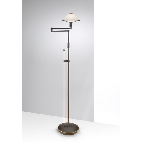 Holtkoetter Lighting Holtkoetter Modern Swing Arm Lamp with White Glass in Hand-Brushed Old Bronze Finish 9434 HBOB TRW