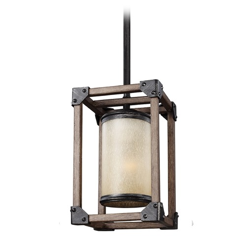 Sea Gull Lighting Sea Gull Lighting Dunning Stardust / Cerused Oak Mini-Pendant Light with Cylindrical Shade 6113301-846