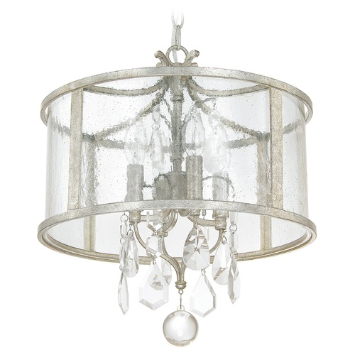 Capital Lighting Capital Lighting Blakely Antique Silver Pendant Light with Drum Shade 9484AS-CR