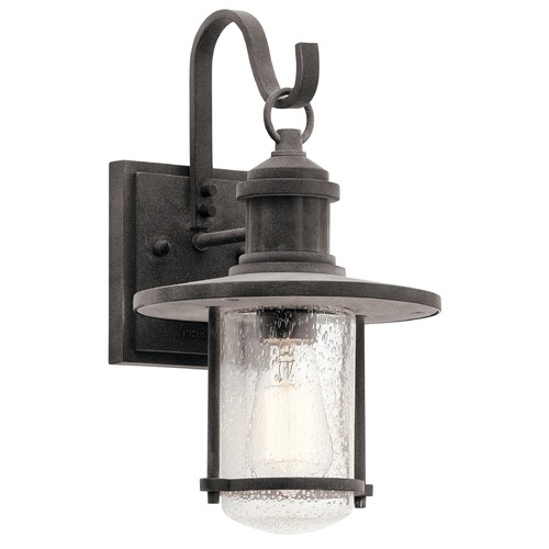 Kichler Lighting Seeded Glass Outdoor Wall Light Zinc Kichler Lighting 49192WZC