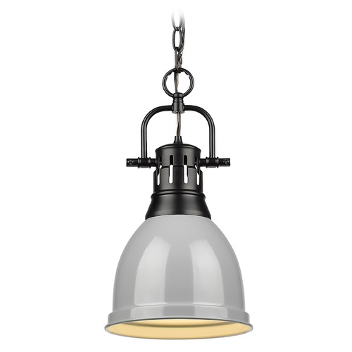 Golden Lighting Golden Lighting Duncan Black Mini-Pendant Light with Grey Shade 3602-SBLK-GY