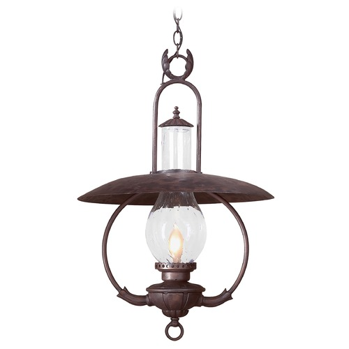 Troy Lighting Outdoor Hanging Light with Clear Glass in Old Bronze Finish FCD9014OBZ