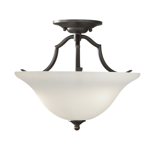 Home Solutions by Feiss Lighting Semi-Flushmount Light with White Glass in Oil Rubbed Bronze Finish SF294ORB