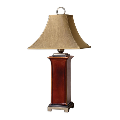 Uttermost Lighting Table Lamp with Brown Shade in Burnt Russet Glaze Finish 26529