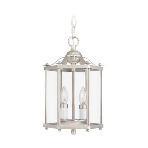 Sea Gull Lighting Mini-Pendant Light with Clear Glass in Brushed Nickel Finish 5232-962