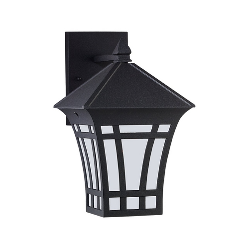 Sea Gull Lighting Outdoor Wall Light with White Glass in Black Finish 89132BLE-12