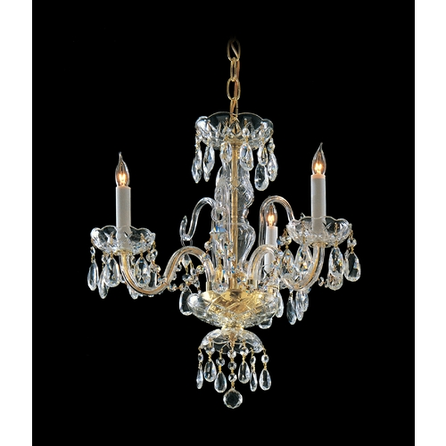 Crystorama Lighting Crystal Mini-Chandelier in Polished Brass Finish 5044-PB-CL-S