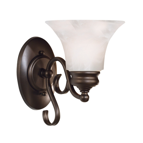 Kenroy Home Lighting Sconce Wall Light with Alabaster Glass in Burnished Bronze Finish 91391BBZ