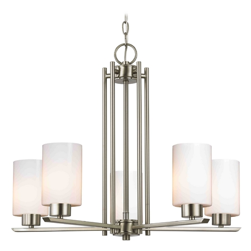 Design Classics Lighting Modern Chandelier with White Glass in Satin Nickel Finish 1120-1-09 GL1024C