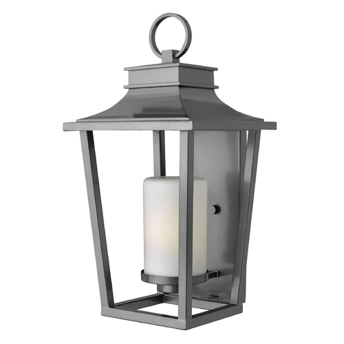 Hinkley Lighting Outdoor Wall Light with White Glass in Hematite Finish 1745HE-GU24