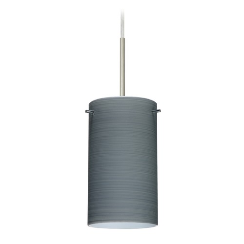 Besa Lighting Besa Lighting Stilo Satin Nickel LED Mini-Pendant Light with Cylindrical Shade 1BT-4404TN-LED-SN