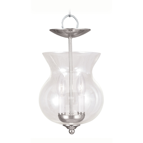 Livex Lighting Livex Lighting Polished Nickel Mini-Pendant Light with Bowl / Dome Shade 4393-35