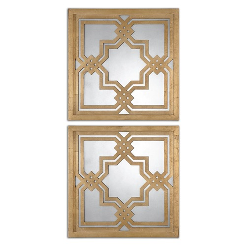 Uttermost Lighting Uttermost Piazzale Gold Square Mirrors Set of 2 13865
