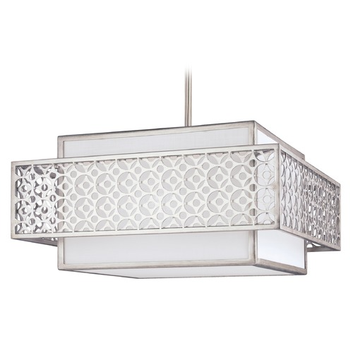 Feiss Lighting Feiss Lighting Kenney Sunrise Silver Pendant Light with Square Shade F3103/3SRS