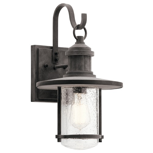 Kichler Lighting Seeded Glass Outdoor Wall Light Zinc Kichler Lighting 49193WZC