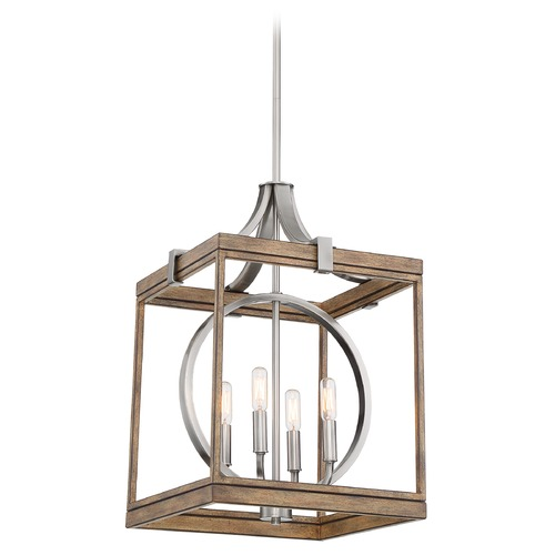 Minka Lavery Minka Lavery Country Estates Wood and Brush Nickel Pendant Light 4014-280