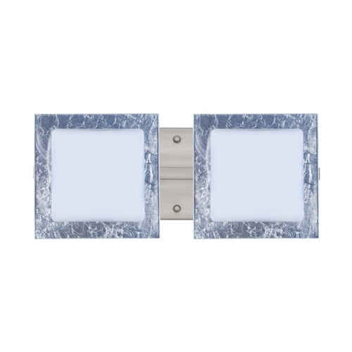 Besa Lighting Modern Bathroom Light with Silver Glass in Satin Nickel Finish 2WS-7735SF-SN