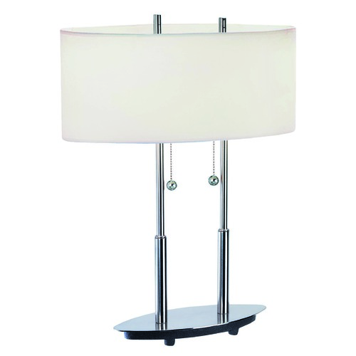 Lite Source Lighting Modern Table Lamp in Polished Steel Finish LS-3821PS/WHT
