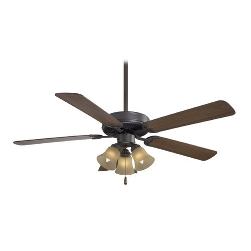 Minka Aire Ceiling Fan with Light with Beige / Cream Glass F647-ORB/TS