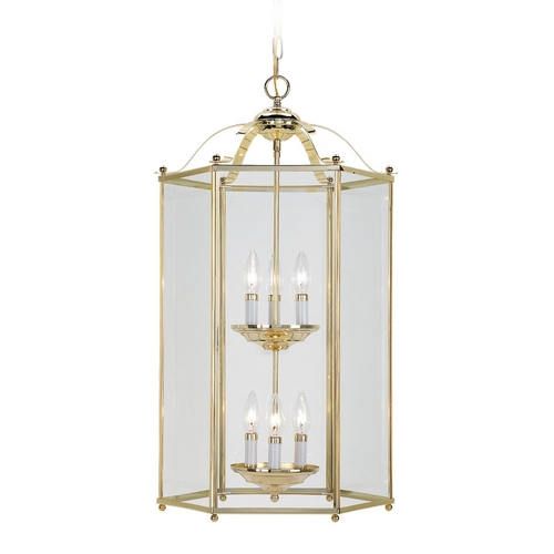 Sea Gull Lighting Pendant Light with Clear Glass in Polished Brass Finish 5233-02