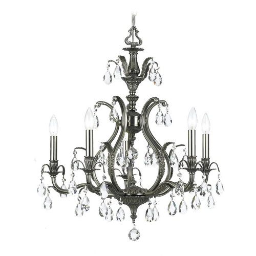 Crystorama Lighting Crystal Chandelier in Pewter Finish 5565-PW-CL-S