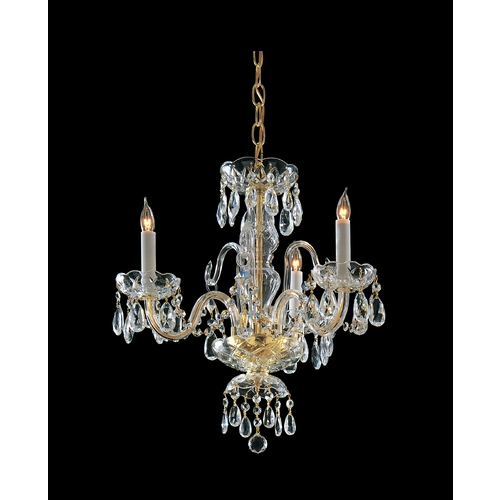 Crystorama Lighting Crystal Mini-Chandelier in Polished Brass Finish 5044-PB-CL-SAQ