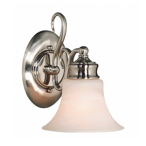 Kenroy Home Lighting Sconce Wall Light with Alabaster Glass in Brushed Steel Finish 91391BS