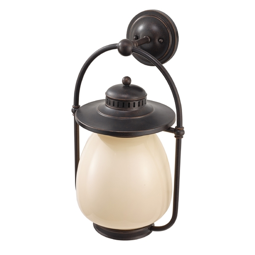 Feiss Lighting Outdoor Wall Light with Beige / Cream Glass in Grecian Bronze Finish OL9304GBZ