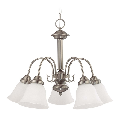 Nuvo Lighting Chandelier with White Glass in Brushed Nickel Finish 60/3240