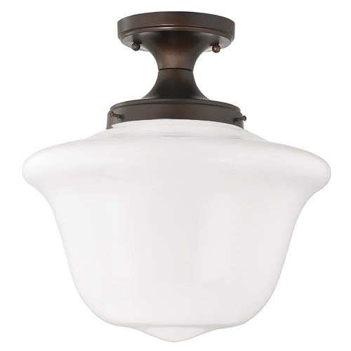 Design Classics Lighting 14-Inch Wide Schoolhouse Ceiling Light in Bronze Finish FES-220/ GD14