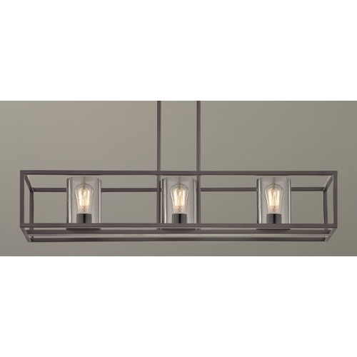 Design Classics Lighting Industrial Linear Chandelier with Seeded Glass Bronze 3 Lt 1697-220 GL1041C