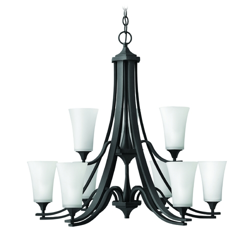 Hinkley Lighting Chandelier with White Glass in Textured Black Finish 4639TB