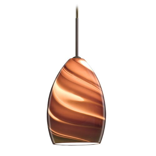 Besa Lighting Besa Lighting Euka Bronze Mini-Pendant Light with Oblong Shade 1JT-1720SK-BR