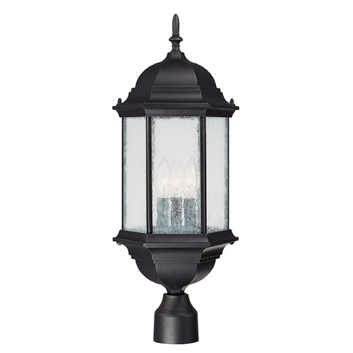 Capital Lighting Seeded Glass Post Light Black Capital Lighting 9837BK