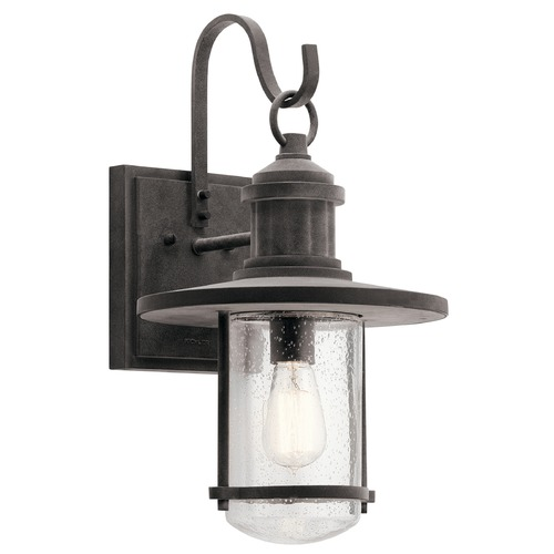Kichler Lighting Seeded Glass Outdoor Wall Light Zinc Kichler Lighting 49194WZC