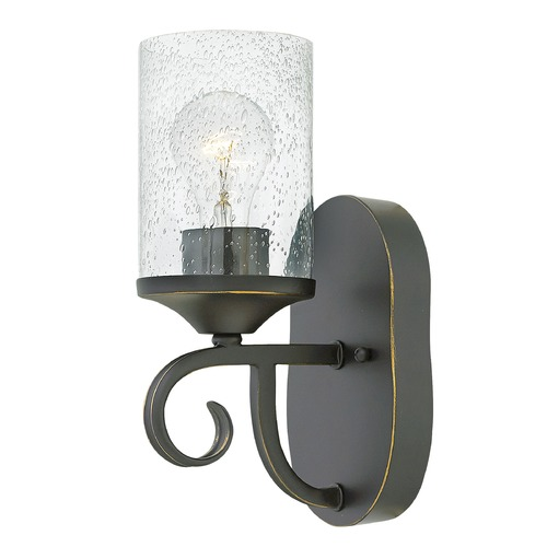 Hinkley Traditional Seeded Glass Wall Sconce Black by Hinkley 4010OL-CL