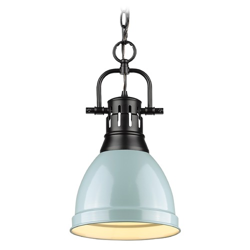Golden Lighting Golden Lighting Duncan Black Mini-Pendant Light with Seafoam Shade 3602-SBLK-SF