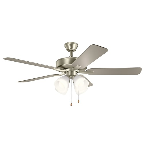 Kichler Lighting Basics Pro Premier Brushed Nickel LED 52-Inch Ceiling Fan with Light 2700K 330016NI