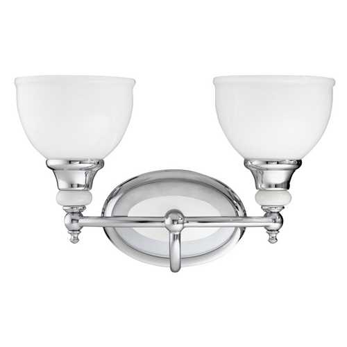 Kichler Lighting Kichler Bathroom Light with White Glass in Chrome Finish 5368CH