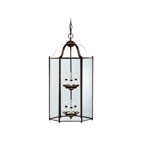 Sea Gull Lighting Pendant Light with Clear Glass in Heirloom Bronze Finish 5233-782