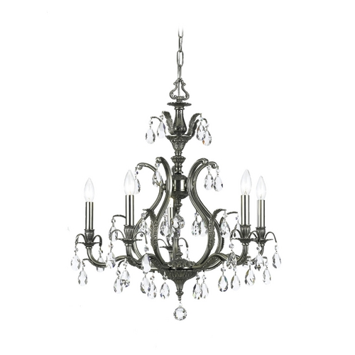 Crystorama Lighting Crystal Chandelier in Pewter Finish 5565-PW-CL-SAQ