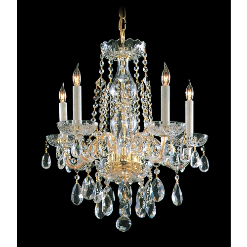 Crystorama Lighting Crystal Mini-Chandelier in Polished Brass Finish 1061-PB-CL-SAQ