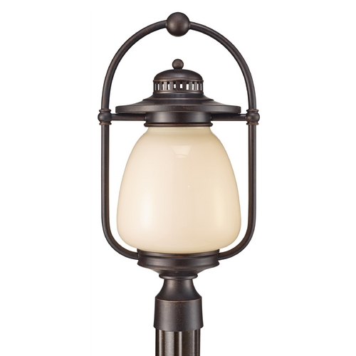 Feiss Lighting Post Light with Beige / Cream Glass in Grecian Bronze Finish OL9308GBZ