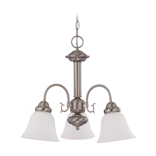 Nuvo Lighting Mini-Chandelier with White Glass in Brushed Nickel Finish 60/3241
