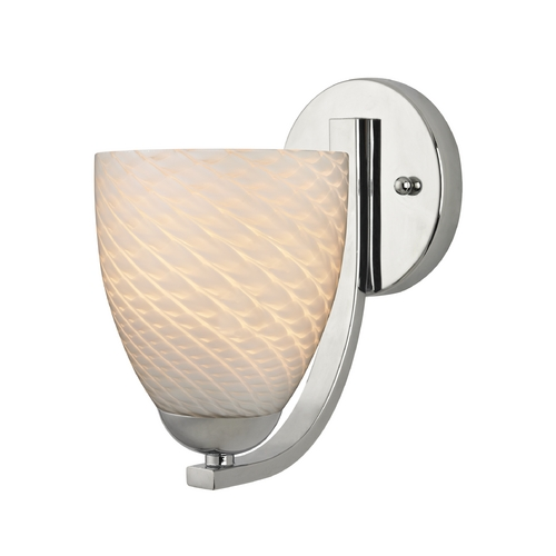 Design Classics Lighting Art Glass Wall Sconce with Bell Shade in Chrome Finish 585-26 GL1020MB