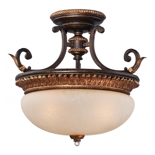 Metropolitan Lighting Semi-Flushmount Ceiling Light in Bronze with Gold Leaf Finish N6642-258B